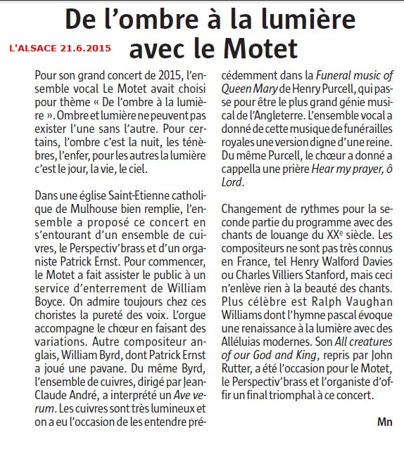 LAlsace Le Motet critique concert Mulhouse juin2015