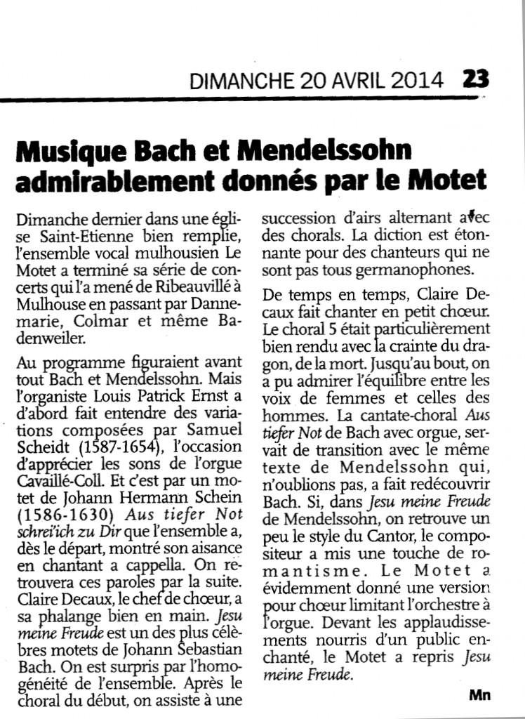 Motet concert Mulhouse 2014-04-13 LAlsace